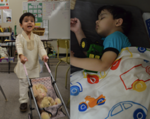 "Kabir enjoying ""being a daddy"" at big sister's kindergarten class (left) and sleeping with his favourite bedtime toy - a truck"