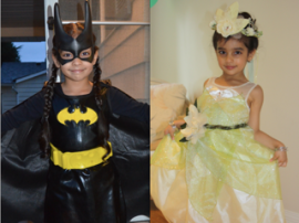 Mehar dressed as Bat Girl for Halloween in 2012 (left) and as a princess the year before (right)